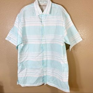 Caribbean 100% linen blue and white button down